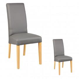 Duo de chaises Similicuir Gris - KABUN