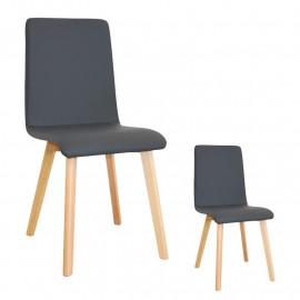Duo de chaises Similicuir Gris - VALONTE