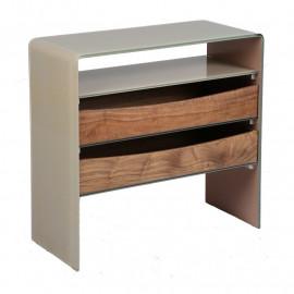 Console 1 niche 2 tiroirs Verre/Bois - PALTA