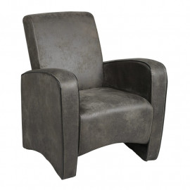 Fauteuil Club Tissu gris - GINK