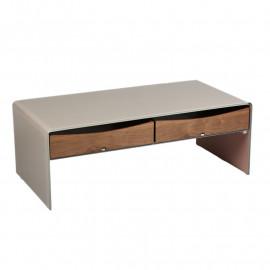 Table basse 2 tiroirs Verre/Bois - PALTA