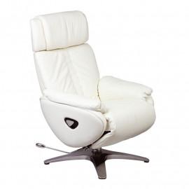 Fauteuil de relaxation Cuir Blanc - GEVAS