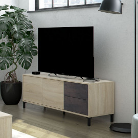 Meuble TV 2 portes Béton/Chêne clair - CALIA