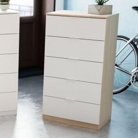 Chiffonnier 5 tiroirs Blanc/Chêne clair - NATAC