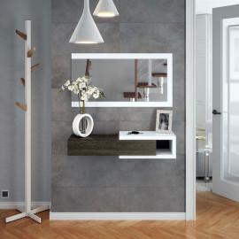 Meuble d'entrée suspendu + miroir Gris/Blanc - JULIA