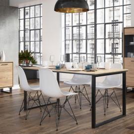 Table de repas rectangulaire 160 cm Chêne blond/Noir - DOINIO