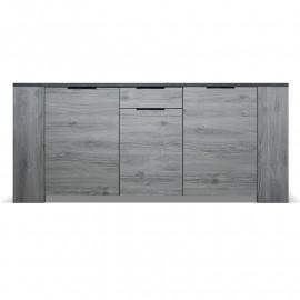 Buffet 3 portes 1 tiroir Bois gris/Béton - RIUCKO