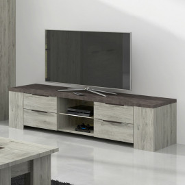 Meuble TV 4 tiroirs 2 niches Bois gris/Béton - RIUCKO