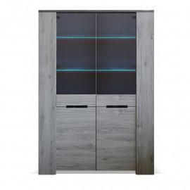 Vaisselier 2 portes vitrées Bois gris/Béton - RIUCKO