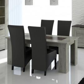 Table de repas à allonge Bois gris/Béton - RIUCKO