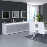 Buffet 4 portes Blanc/Béton ciré à LEDs - RODIO