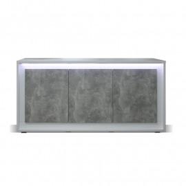 Buffet 3 portes Blanc/Béton ciré à LEDs - RODIO