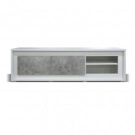 Meuble TV 2 portes 2 niches Blanc/Béton ciré à LEDs - RODIO