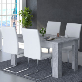 Table de repas rectangulaire 160 cm Blanc/Béton ciré - RODIO