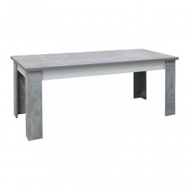 Table de repas rectangulaire à allonge Blanc/Béton ciré - RODIO