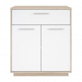 Buffet 2 portes 1 tiroir Chêne brossé/Blanc - ANO