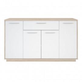 Buffet 4 portes 1 tiroir Chêne brossé/Blanc - ANO