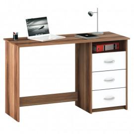 Bureau 1 niche 3 tiroirs Bois/Blanc - ROUSSEAU