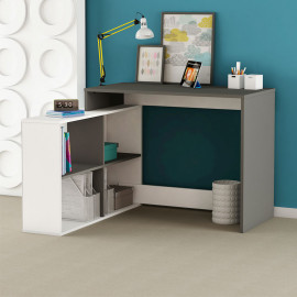 Bureau d'angle 4 niches Gris/Blanc - DIDEROT