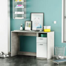 Bureau 1 porte 1 tiroir Béton/Blanc - ALAIN