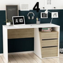 Bureau 3 tiroirs Blanc/Chêne clair - SADE