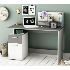 Bureau 1 porte 1 tiroir Gris/Blanc - VOLTAIRE