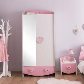 Armoire miroir 2 portes Blanc/Rose - FIONA