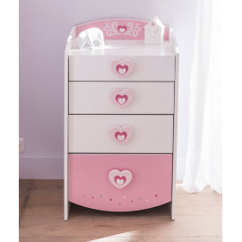 Commode 4 tiroirs Blanc/Rose - FIONA