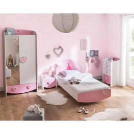 Chambre enfant complète 90x190 Rose - FIONA
