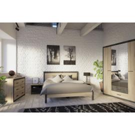 Chambre complète 160x200 Chêne/Noir - KHANDA