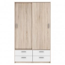 Armoire 2 portes coulissantes 4 tiroirs - SOBA