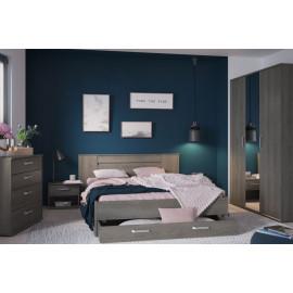 Lit avec tiroir Chêne grisé 160x200 - KIFILI