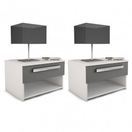 Duo de tables de chevet Blanc/Gris - KEAMERS