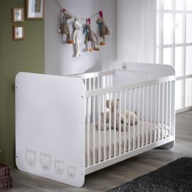 Lit bébé blanc à barreaux 60x120 - CHOUETTE