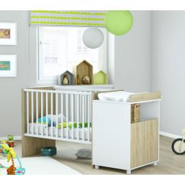 Lit bébé évolutif avec commode - AJOBA