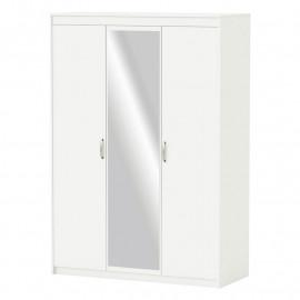 Armoire 3 portes et miroir Blanc mat - DOMATIO