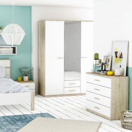 Armoire 3 portes 2 tiroirs Blanc/Chêne - STAYA