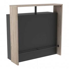 Meuble bar 7 niches Chêne/Noir - KIMO
