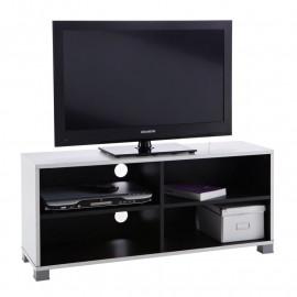 Meuble TV 4 niches Noir/Blanc - ALAK