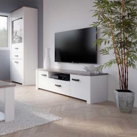 Meuble TV 2 portes Pin/Chêne noisette - LIMOGES