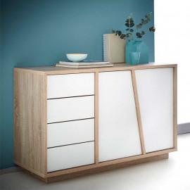 Buffet 2 portes 4 tiroirs Chêne/Blanc - LISPACH