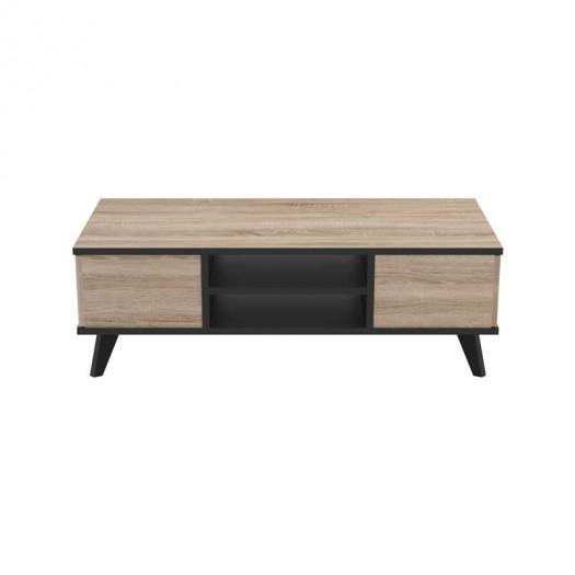 Table basse 2 tiroirs Chêne/Noir - AVIGNON