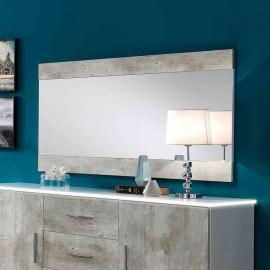 Miroir rectangulaire Blanc/Béton - RAIMA