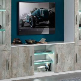 Meuble TV 2 portes Blanc/Béton à LEDS - RAIMA