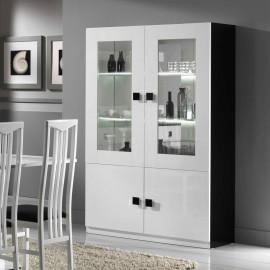 Vaisselier 4 portes Blanc/Noir laqué à LEDS - ZEME