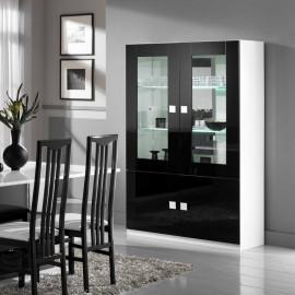 Vaisselier 4 portes Noir/Blanc laqué à LEDS - ZEME