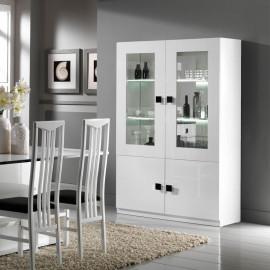 Vaisselier 4 portes Blanc/Blanc laqué à LEDS - ZEME