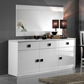 Buffet 3 portes 3 tiroirs Blanc/Blanc - ZEME
