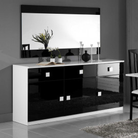 Buffet 3 portes 3 tiroirs Noir/Blanc - ZEME