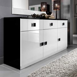 Buffet 3 portes 3 tiroirs Blanc/Noir - ZEME